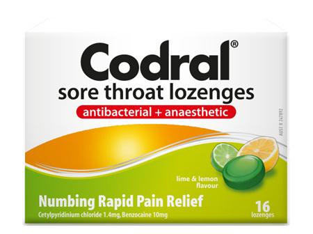 CODRAL Sore Throat Loz Lime/Lem 16