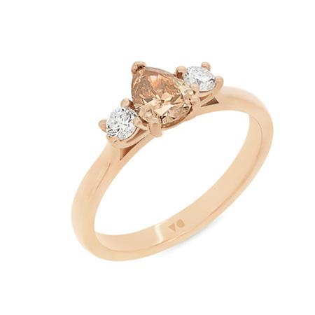 Cognac Diamond Three-Stone Ring