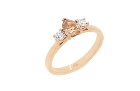 Cognac Diamond Three-Stone Ring