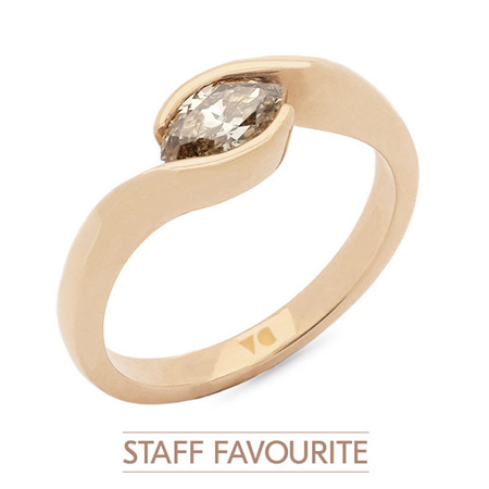 Cognac Marquise Horizontal Crossover Solitaire