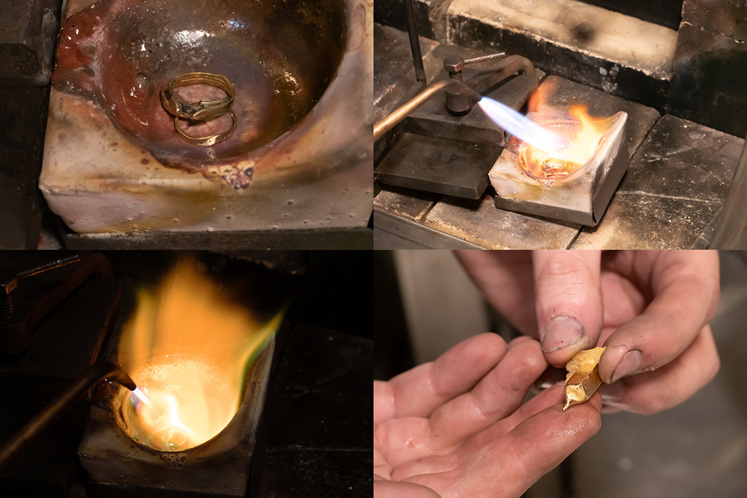 Collage of melting yellow gold rings to form an ingot, ready to remodel