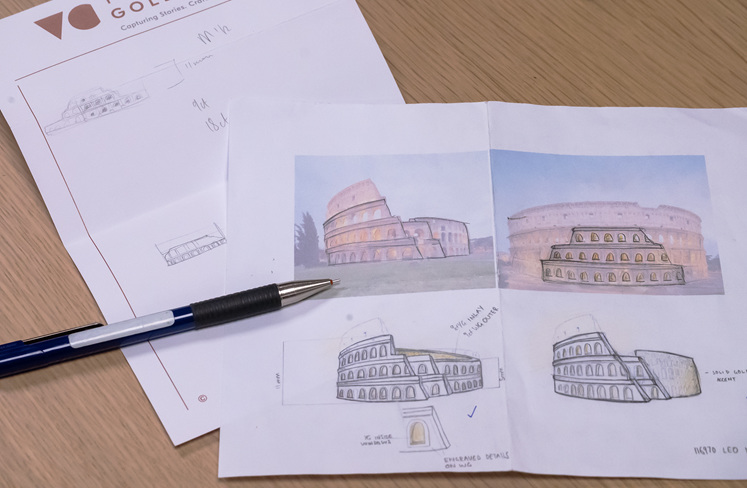 Colosseum ring inspired design sketches