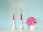 Colour dipped taper candles