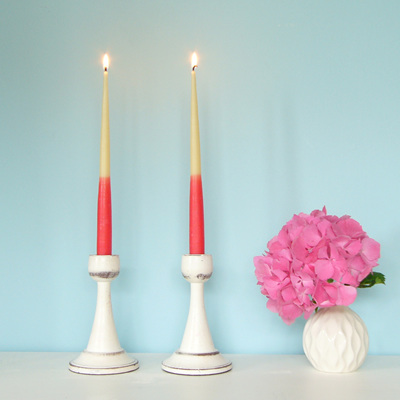 Colour dipped taper candles - Raspberry