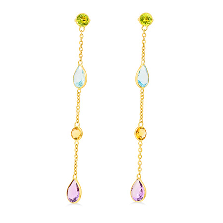 Coloured Dangle Stud Earrings