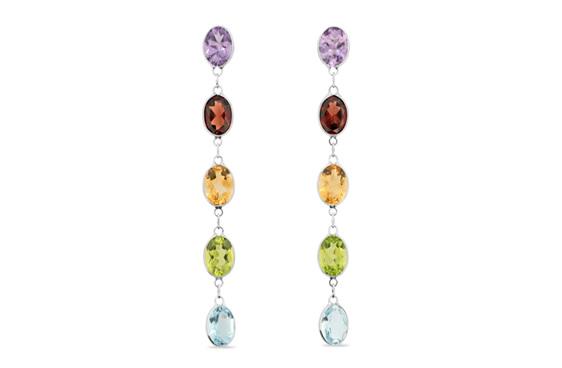 coloured gemstone earrings - amethyst, garnet, citrine, peridot, topaz earrings