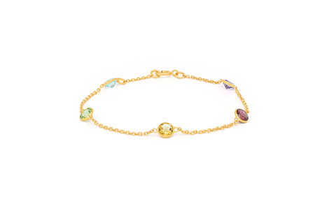 Coloured Gemstone Yellow Gold Bracelet