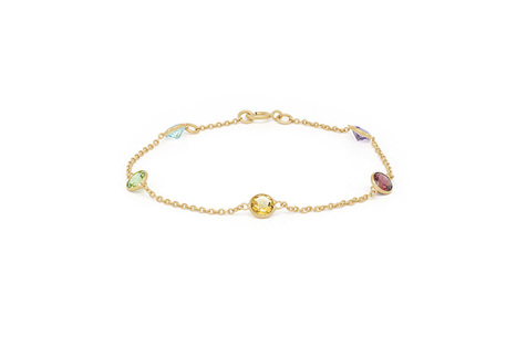 Coloured Gemstone Yellow Gold Bracelet