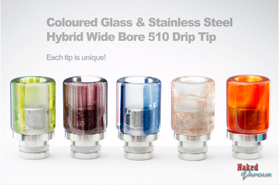 Coloured Glass & Stainless Steel Hybrid Wide Bore 510 Drip Tip