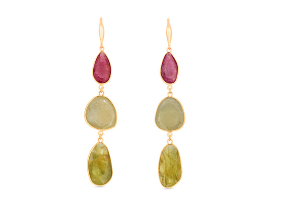 Coloured Sapphire Drop Earrings