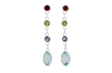 Coloured Stone & Blue Topaz Drop Stud Earrings
