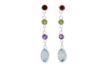Coloured Stone & Blue Topaz Drop Stud Earrings