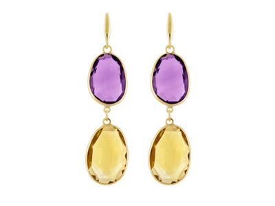 Amethyst and Citrine Hook Drop Earrings