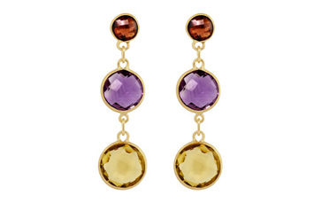 Garnet, Citrine and Amethyst Drop Stud Earrings