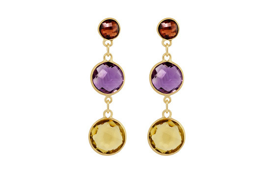 coloured-stones-drop-stud-earrings-garnet-citrine-amethyst-yellow gold