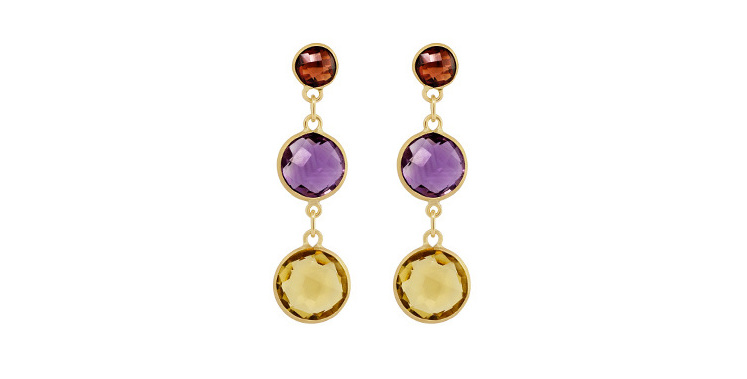 drop the goldsmith citrine gold stones amethyst coloured garnet earrings yellow and village stud