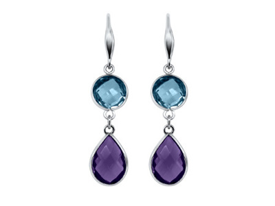 Topaz and Amethyst Hook Drop Earrings