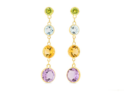Coloured Waterfall Drop Stud Earrings