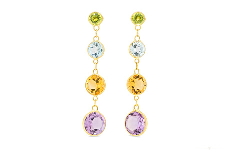 Coloured Waterfall Drop Stud Earrings