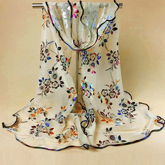Colourful Flower Lace Gauze Scarf - Beige