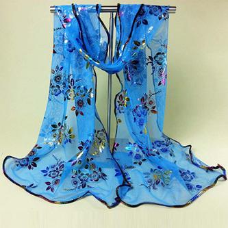 Colourful Flower Lace Gauze Scarf - Blue