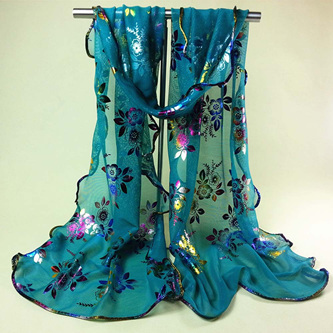 Colourful Flower Lace Gauze Scarf - Green