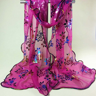 Colourful Flower Lace Gauze Scarf - HOT PINK