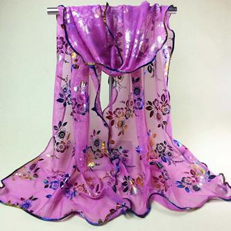 Colourful Flower Lace Gauze Scarf - Purple