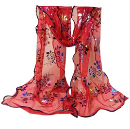 Colourful Flower Lace Gauze Scarf - RED