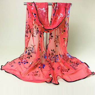 Colourful Flower Lace Gauze Scarf - WATERMELON RED