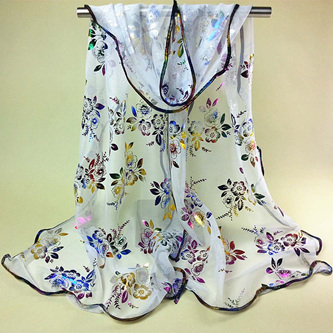 Colourful Flower Lace Gauze Scarf - White