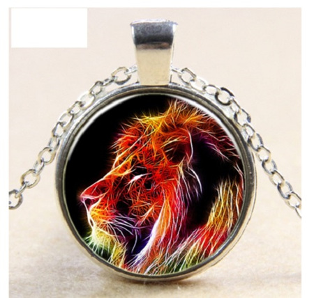 Colourful Lion Glass Pendant Necklace - Silver Chain
