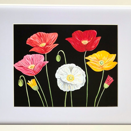 "Colourful Poppies - 11 x 14"" Frame"