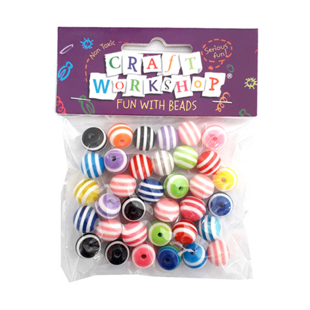 Colourful Striped Beads x 35