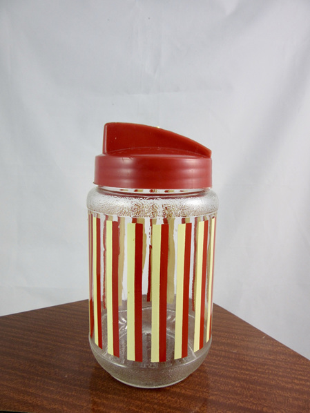 Colourful Vintage Yellow and Red Striped Canister / Sugar Dispenser