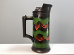 Colourful West German Pottery Jug in Green, Orange and Brown