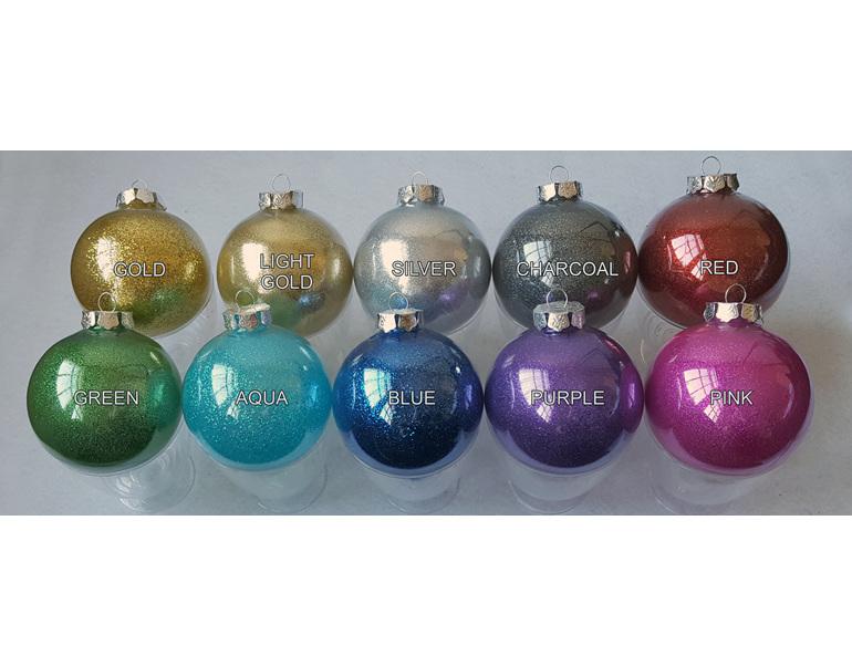 Colours of glitter balls for persoanlisation for Christmas