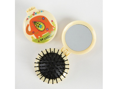 Compact Brush Mirror Be Happy Elephant