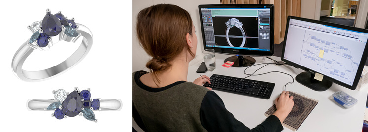 Computer-aided design CAD digital 3D render jewellery ring