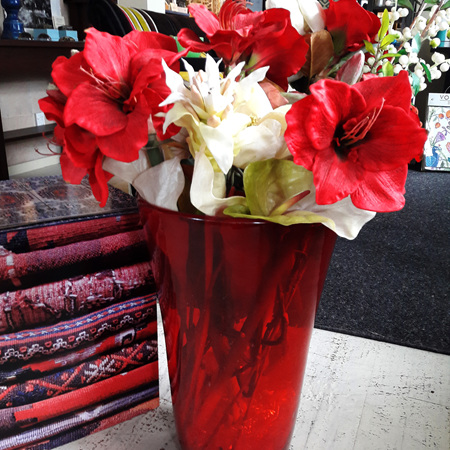 Conica Red Glass Vase - $275