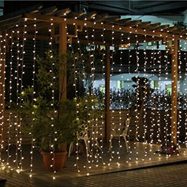 Connectable 3x3m Rubber Cable Outdoor Curtain Lights - Warm White