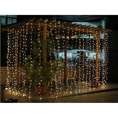 Battery Powered Outdoor Lights Nz: Connectable 3x3m Rubber Wire Outdoor Curtain Lights-Warm