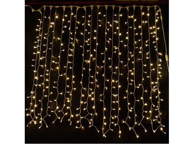 Connectable 3x3m Rubber Wire Outdoor Curtain Lights Warm