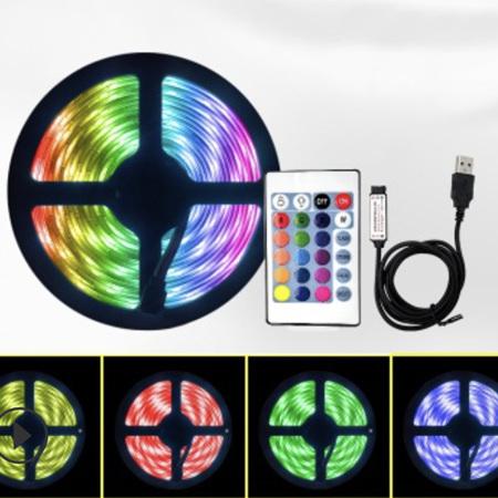 Connectable / Extendable 16 Colour USB Plug Strip Lights with Remote Control - 5m