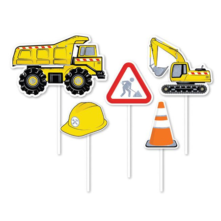 Construction cake topper 5pack