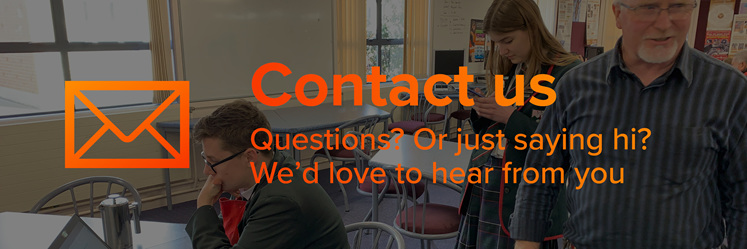 """""""Contact us"""" page. Questions? Or just saying hi? We'd love to hear from you."""
