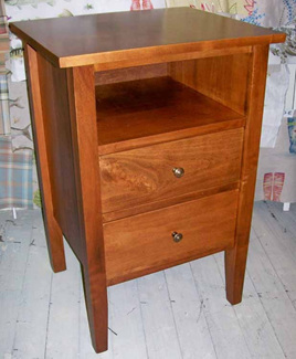 Hilton Bedside Cabinet Tall with Shelf & Two Drawers