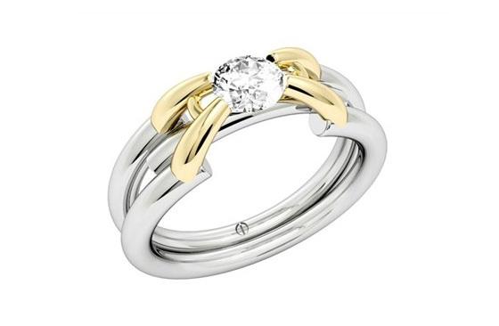 Contemporary Brilliant Cut Diamond Ring