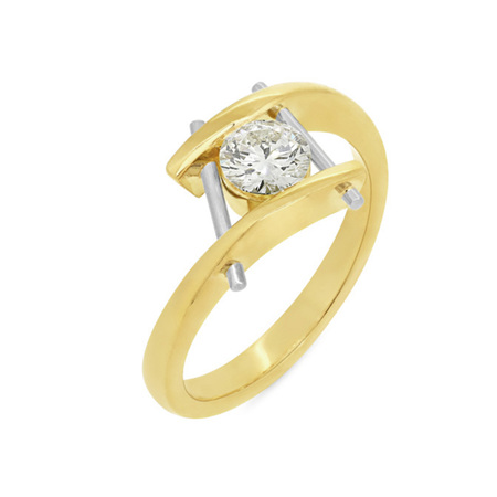Contemporary Two-Tone Diamond Ring