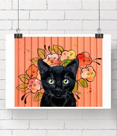 Coral Kitty - limited print - 1 left
